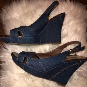 Guess denim leather wedge sandals heels 7.5